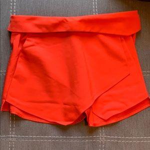 Zara red/orange apron front skort size S